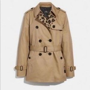 NWT Coach Leopard Print Trench Coat